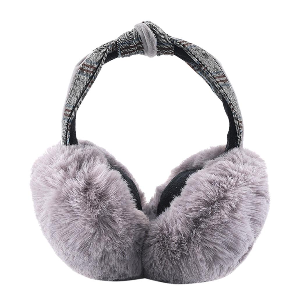 Women's Foldable Earmuffs Winter Earmuffs Faux Fur Hamburger Ear Warm Windproof Plush Headwear 9.30