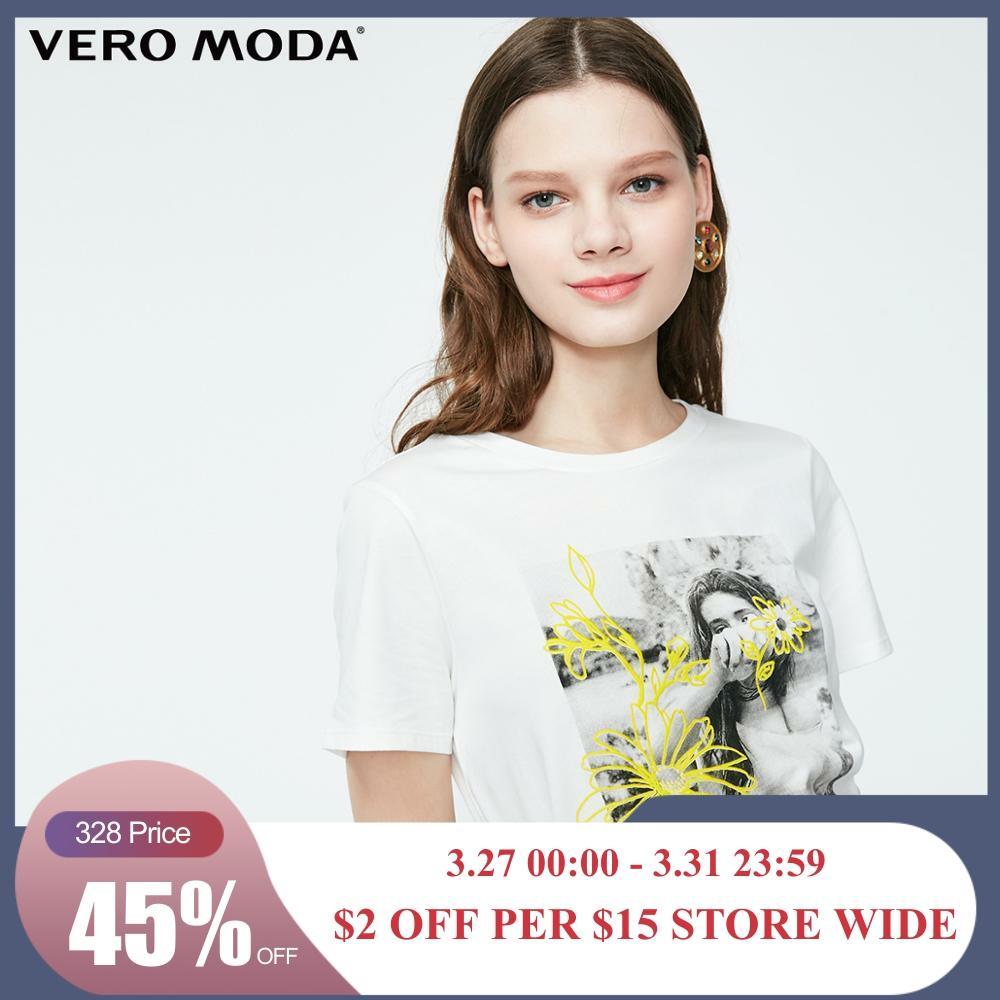 Vero Moda Women's 100% Cotton Person Pattern Print T-shirt   319201639