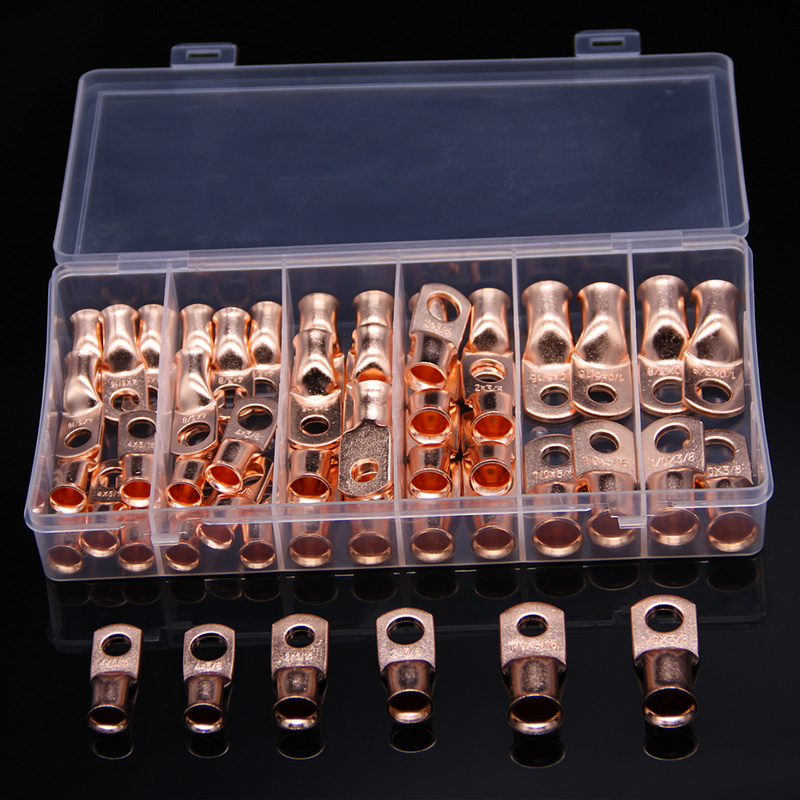 """50Pcs Assortment Wire Ring Bare Copper Terminal  4  2  1/0 AWG 3/8"""" 5/16"""" Electrical Cable Connectors Lug Terminals Kit