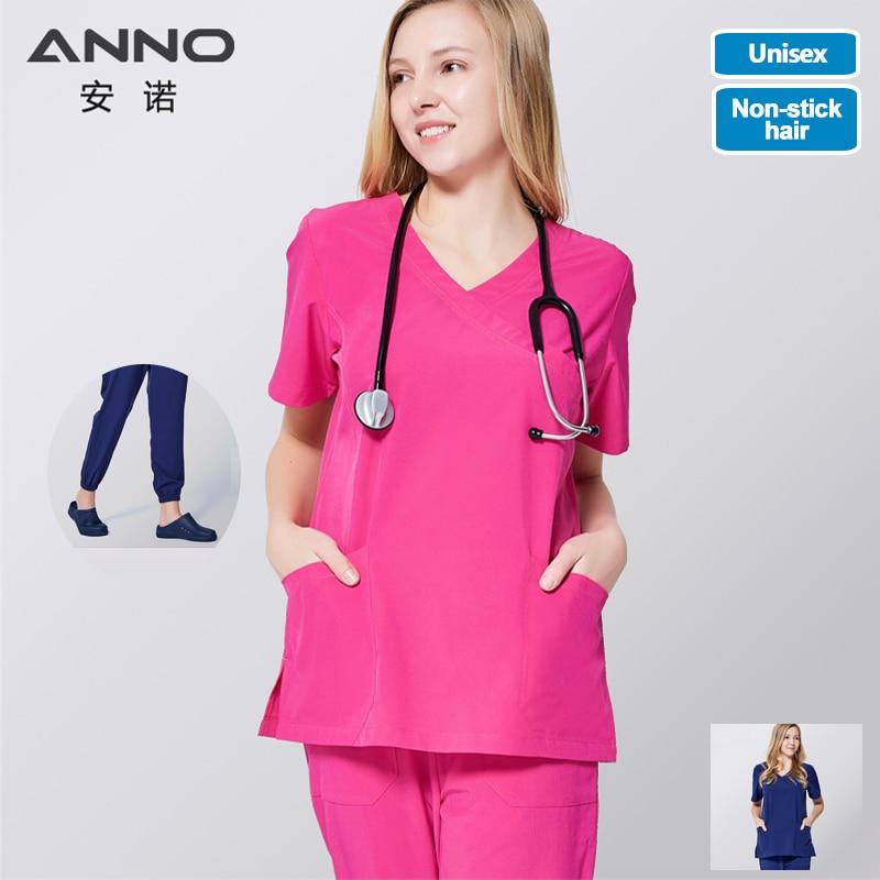 ANNO Medical Scrub Set Non Sticky Hair Pet Hospital Uniform Clinical Nursing Dress Surgical Clothes Shirt Trouser