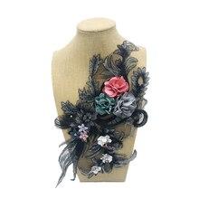 Hot 1pc Spitze Braut Perlen Blumen Stickerei Patches Aufkleber für Kleidung Hochzeit Decor Kleid Eisen auf Nähen Applique Lieferanten