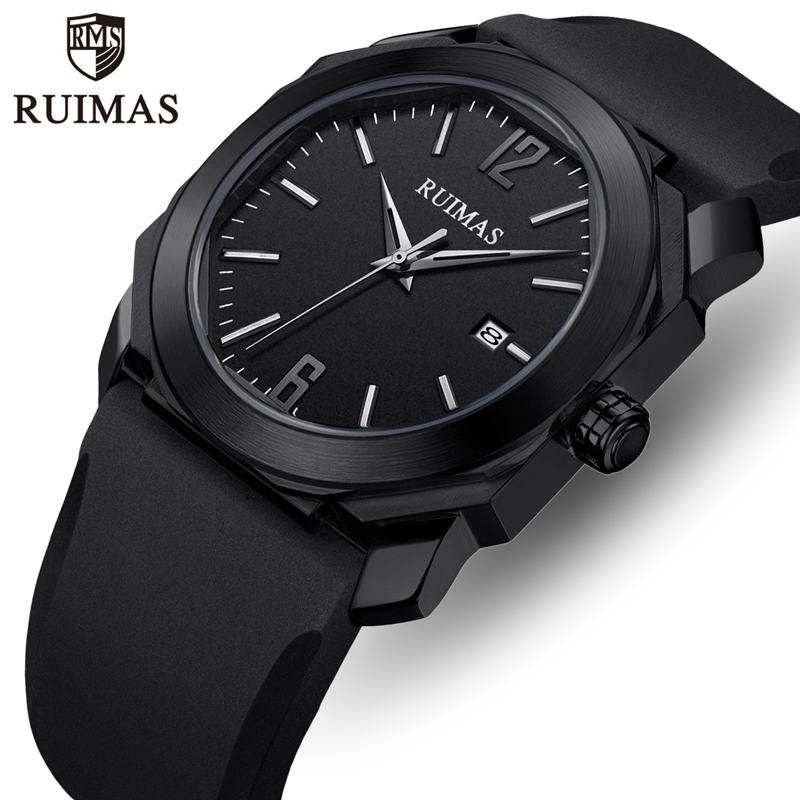 RUIMAS Men Watch Top Luxury Brand Mens Fashion Silicone Strap Quartz Watches Male Waterproof Date Wristwatch Relogio Masculino