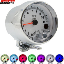 3.75 Inch Racing Car Tachometer Gauge 7 LED Colors 0 11000 Rpm For 1/2/3/4/5/6/7/8 Cylinder Chrome Shell White Face Meter