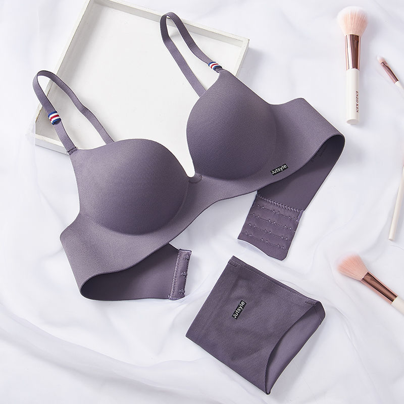 Seamless Bra Set For Women One-piece  Wire Free Gathered Girl Bra For Women Underwear Set Sexy Push Up  Bras And Panties