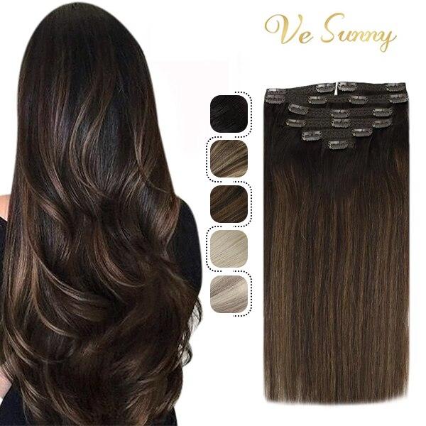VeSunny Clip In estensioni dei capelli umani Ombre colori biondi 100G/7pcs doppia trama forcine Clip su capelli umani macchina Remy capelli