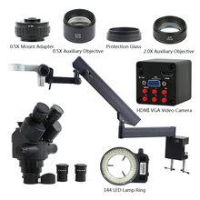 3.5X 90X Simul Focal Trinocular Stereo Microscope SONY IMX307 1080P HDMI VGA Camera Articulating Arm Pillar Clamp