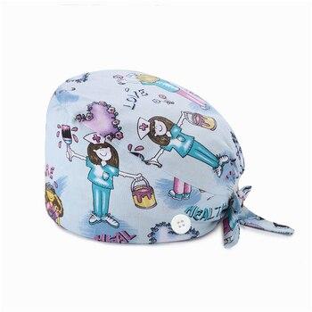 Breathable Scrub Cap Fashion Print Button Doctor Nurse Work Hat Casual Uni scrub hats for women Casquette nurse accessories