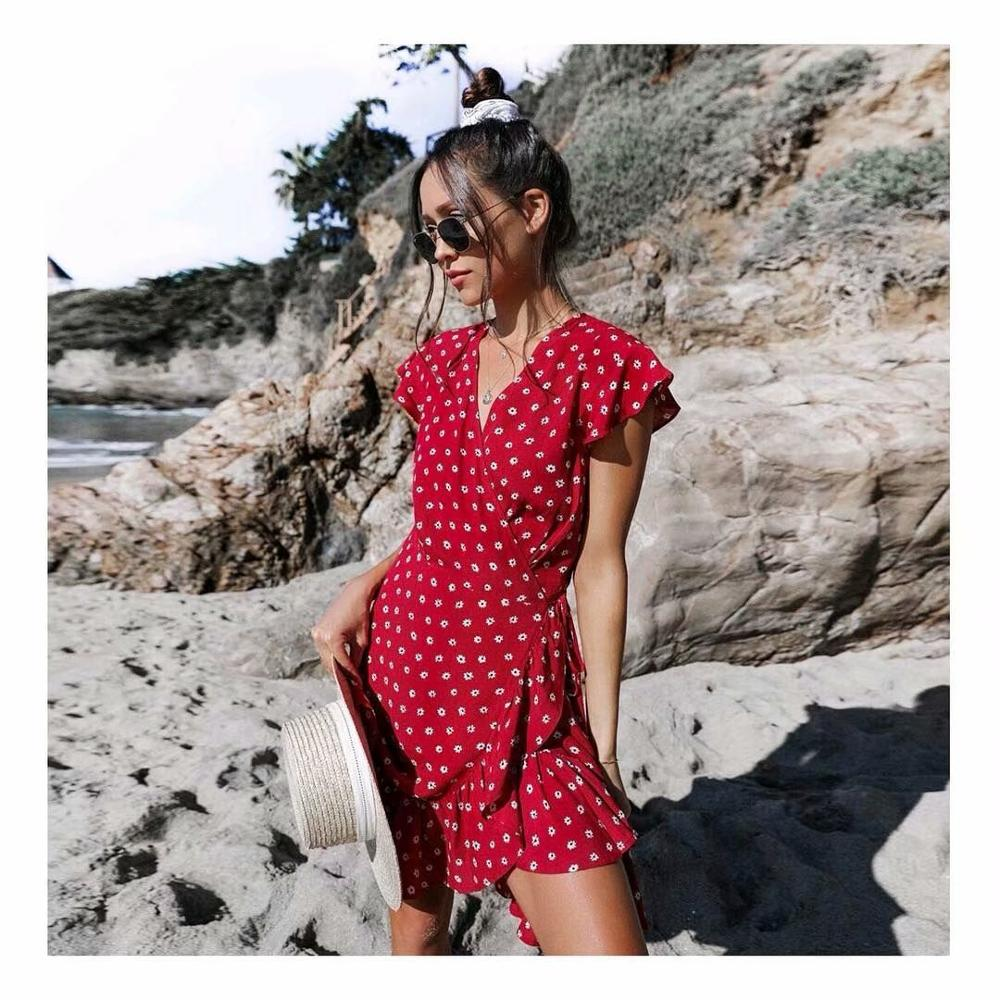 Printed Flower Summer Mini Dress Women Flounce Floral V-neck French Beach