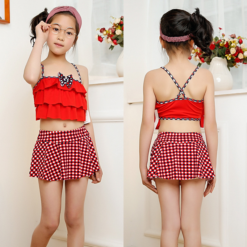2018 New Products KID'S Swimwear Big Boy GIRL'S Split Type Two-Piece Set Princess Skirt Bikini Wholesale