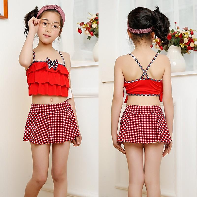 2018 New Products KID'S Swimwear Big Boy GIRL'S Split Type Two-Piece Set Princess Skirt Bikini Wholesale