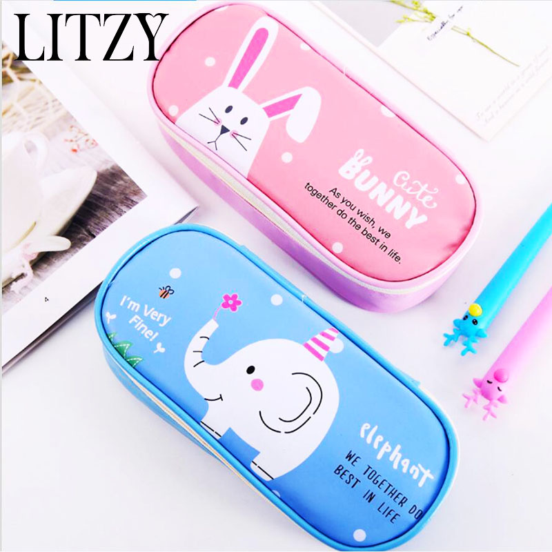 Cute Cat Pencil Case for Girls Boys Large Capacity Multifunctional Leather Pencil Case Big Pencil Bag Pen Box School Stationery
