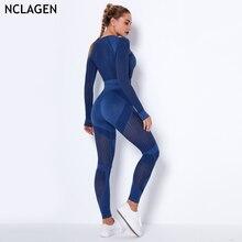 NCLAGEN Nahtlose Anzug 2 Stück Yoga Set Frauen Aushöhlen Stricken Gym Sportwear Gestreiften Sport Leggings Top Workout Fitness Outfit