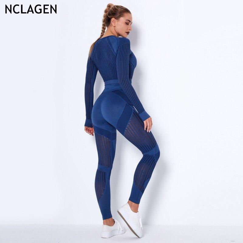 NCLAGEN dikişsiz takım elbise 2 parça Yoga seti kadınlar Hollow Out örgü spor spor çizgili spor tayt Top egzersiz Fitness kıyafet