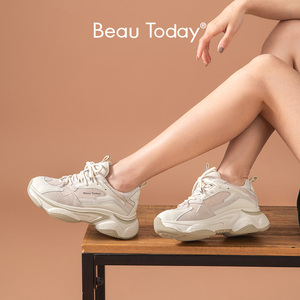 Image 1 - BeauToday Chunky Sneakers Women Genuine Cow Leather Mesh Retro Style Lace Up Mixed Colors Lady Casual Thick Shoes Handmade 29353