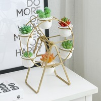 Modern Ferris Wheel Flower Pots White Ceramic Planters with Rotatable Metal Stand Hanging Succulents Plant Pots Home Decoration