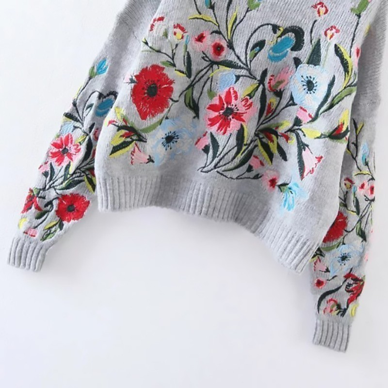 [EAM] 19 Autumn Winter Round Neck Long Sleeve Flower Embroidered Knitting Warm Loose Sweater Pollovers Women Fashion V74702 6