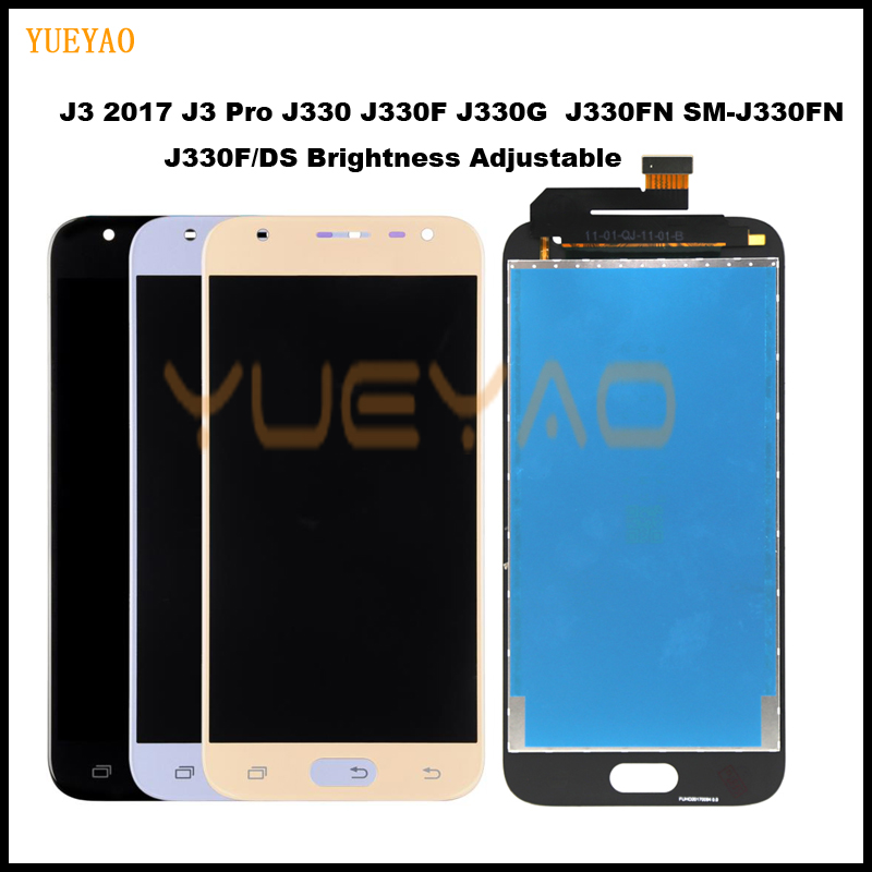 J3 2017 LCD For <font><b>Samsung</b></font> Galaxy J3 2017 J330 J330F SM-J330 LCDs Display Touch Digitizer Screen With Brightness Adjustment image