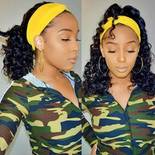 Wigs Human-Hair High-Ponytail Headband-Wigs Wave Brazilian for Black Women Gluesless
