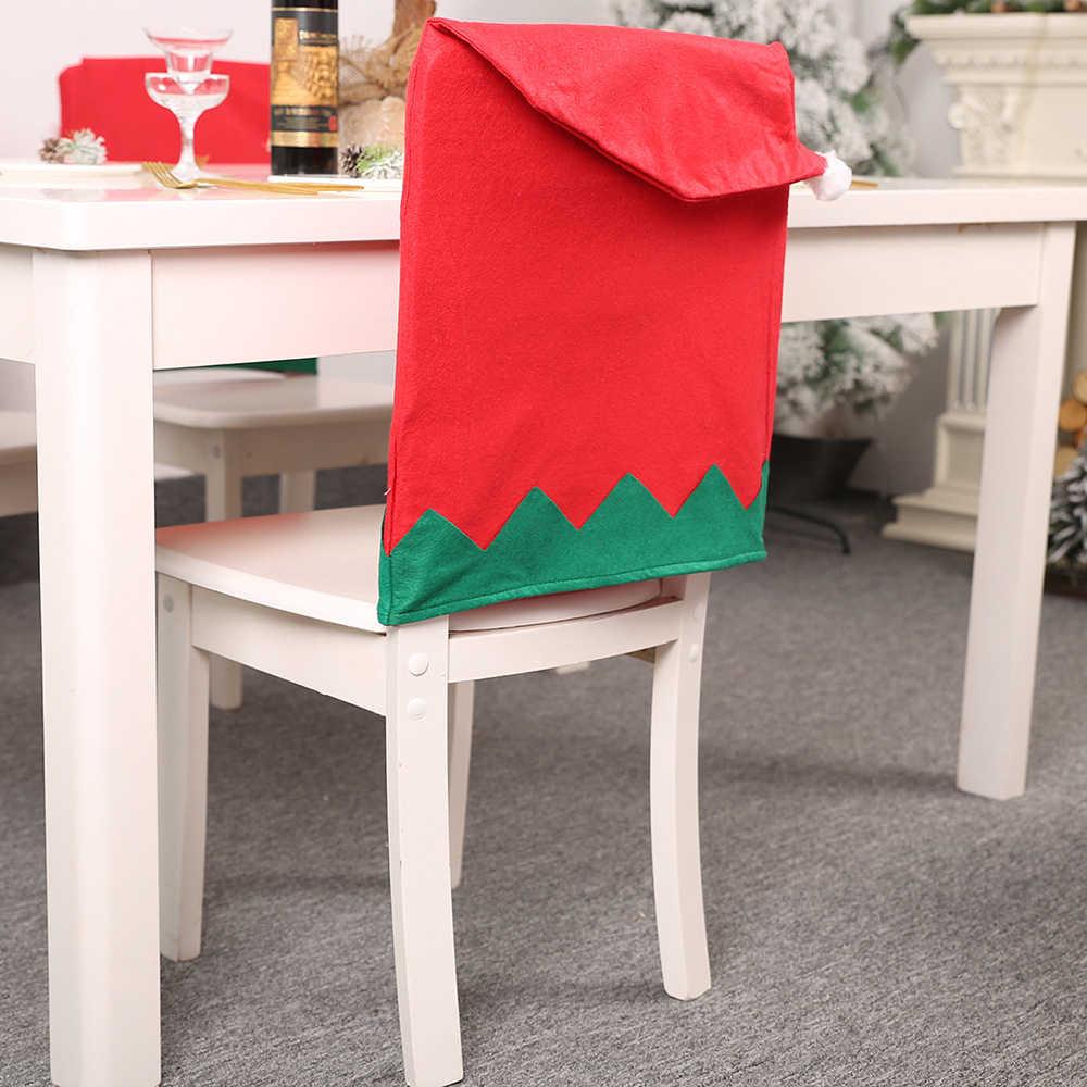 1pc Duende Do Natal Vermelho Verde Cozinha Fezes Tampa Da Cadeira Tampa Da Cadeira Tampa Da Cadeira de Mesa Cobre Grande Chapéu Xmas Holiday Party decoração de casa