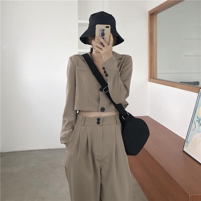 Cheerart Two Piece Set Women Blazer Set Crop Top And Pants Korean Fall Outfits Long Sleeve Set Female Clothing