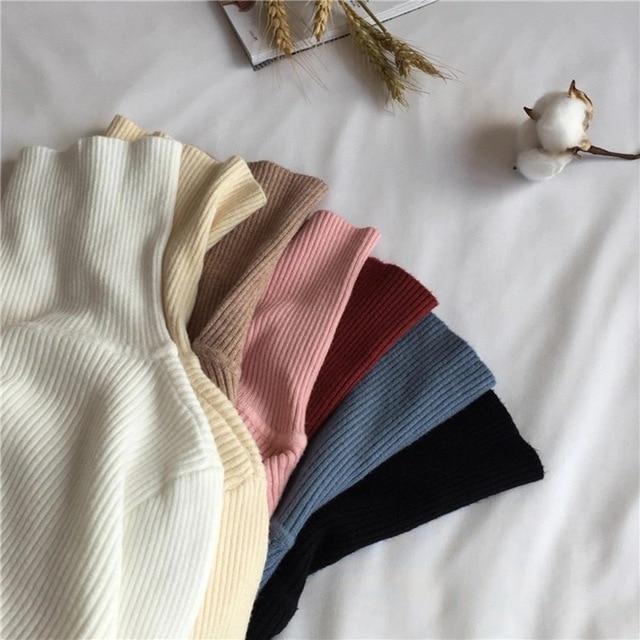 Lucyever Turtleneck Women Knitted Pullovers Sweater Fashion Autumn Winter Soft Jumper Korean Slim Long Sleeve Girls Basic Tops 4