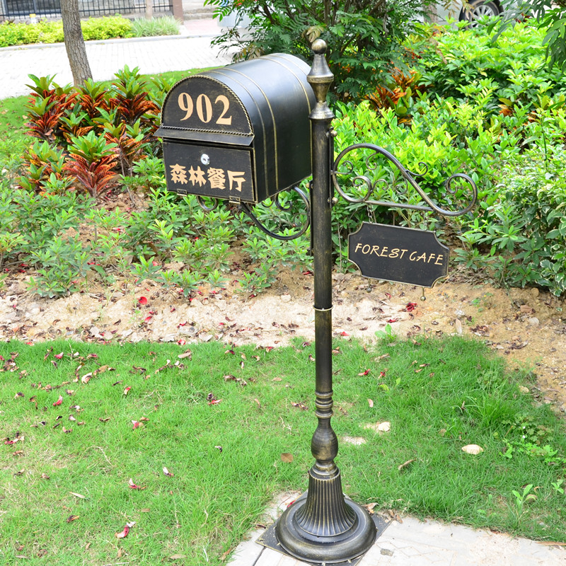 Metal Stand Mailbox For Villa Garden Park Outdoor Newspaper Letter Box Full Sets Retro Classic Postbox F6017