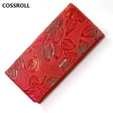 real leather wallet women luxury brand wallets genuine female purse long floral clutch purses