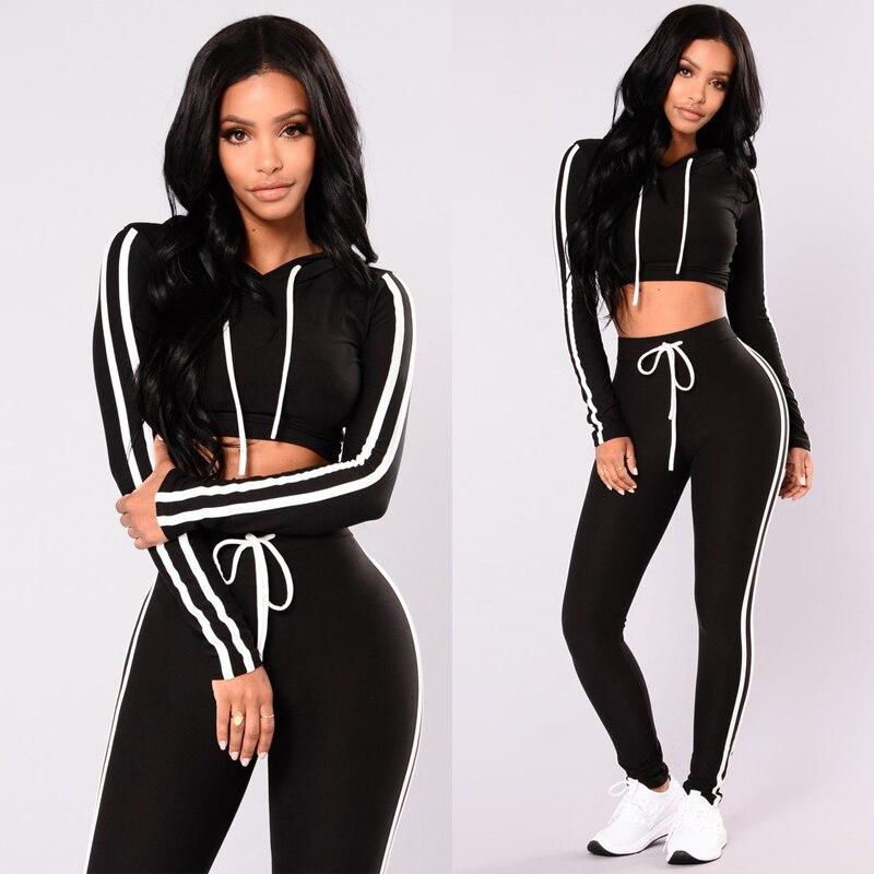 Womens Sport Hoodies Solid Black Long Sleeve Striped Casual Sweatshirt Crop Tops Pants Set 2Pcs Tracksuit Sweat Suit 3 Colors
