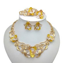 Kingdom Ma Gold Color Necklace Bracelet Earring Ring Jewelry Sets India Women African Bridal Wedding Gifts jewelry sets bridal jewelry sets wedding necklace earring for brides party accessories gold plated crystal decoration women