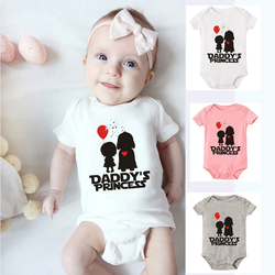 Baby Boys Girls Cotton Bodysuit Infant Funny Daddy's Princess Letters Graphic Printed Fashion Onesies Toddler Soft Wear Rompers