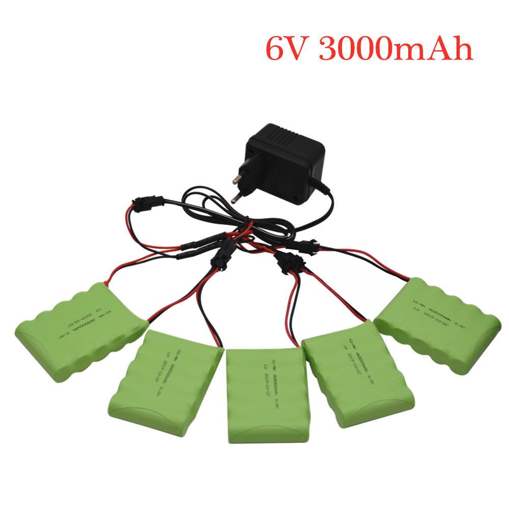 6v 3000mAh Battery With Charger For RC Cars Robots Tanks Gun Boats 6v NiMH Battery AA 2400mah 6v Rechargeable Battery Pack