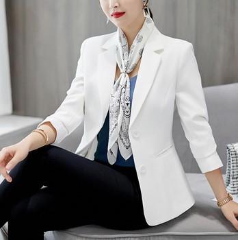 2021 Winter New Women's Suit Coat Slim White Blazer Office Lady Womens Blazers Long Sleeve Notched Office Lady Work Wear Black 1