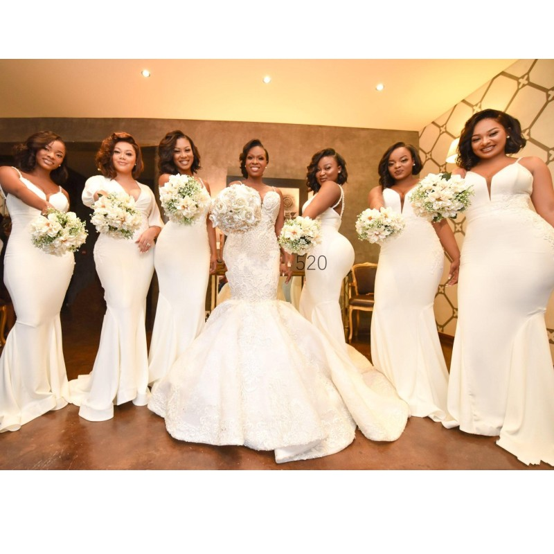 African Mermaid Bridesmaid Dresses With Spaghetti Straps Appliques Beads Sequins Wedding Guest Dress Plus Size Maid Of Honor