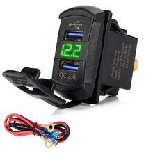 Interruptor de carga rápida 3.0, carregador usb duplo qc 3.0 com led voltímetro para carros, caminhões, motos, smartphones e tablet
