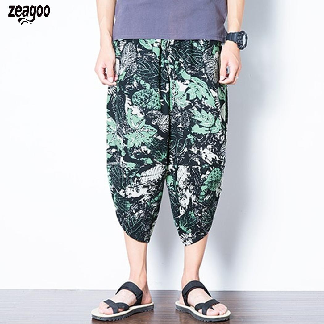 Men Casual Floral Mid Waist Loose Beach, Calf Length Cotton Adjustable Drawstring Linen Bloomers Haren Pants