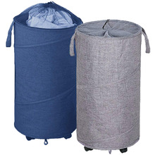 2 Pack Collapsible Laundry Basket with Wheels, Handles and Mesh Tops - Smart Design, Large, Oxford Fabrics