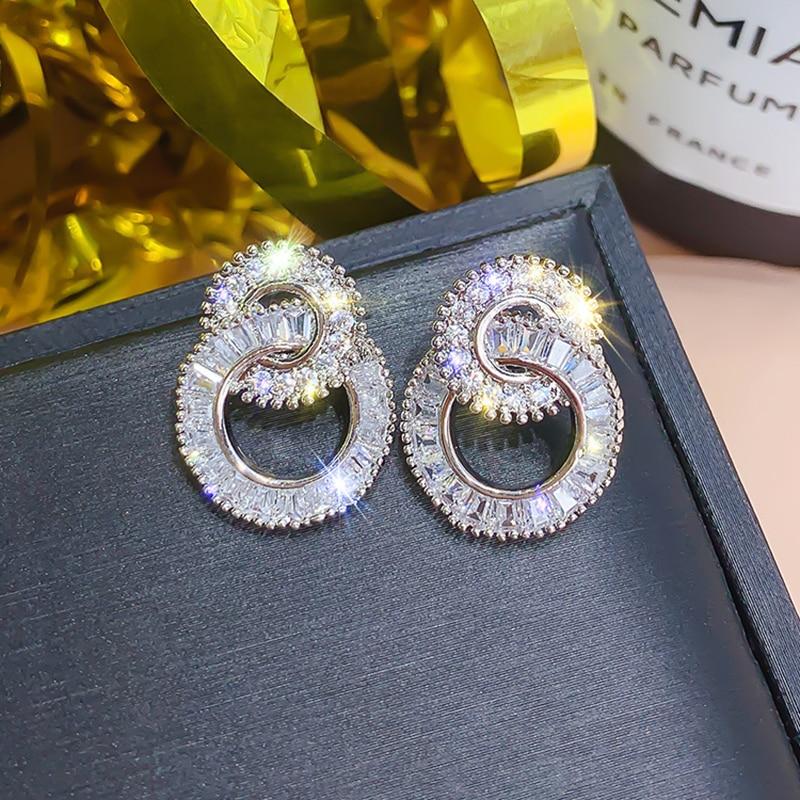 Silver Color Round Cute Bling Zircon Stone Stud Earrings for Women Fashion Wedding Bride Jewelry 2021 New Korean Party Earrings