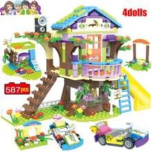 587 قطعة اللبنات بنات أصدقاء ميا مغامرة بيت شجرة كومة الطوب متوافق lys الاطفال لعب للأطفال هدية