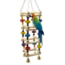 Wooden Bird Parrot Swing Ladder Toys Hanging Bird Chewing Climbing Stand Perch with Bell Playground Colorful Bite Blocks Toy C42
