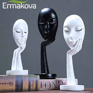 Image 2 - ERMAKOVA Nordic Abstract Thinker Thinking Lady Mask Figurine Resin Statue Office TV Cabinet Home Decoration Crafts
