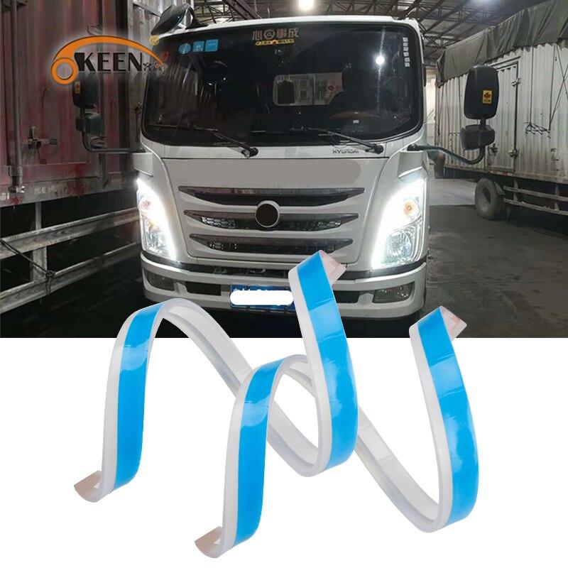 OKEEN 24V Гибкий Универсальный светодиодный дневный ходовой светильник для грузовика DRL с потоками сигнальный светильник s для грузовика автом...
