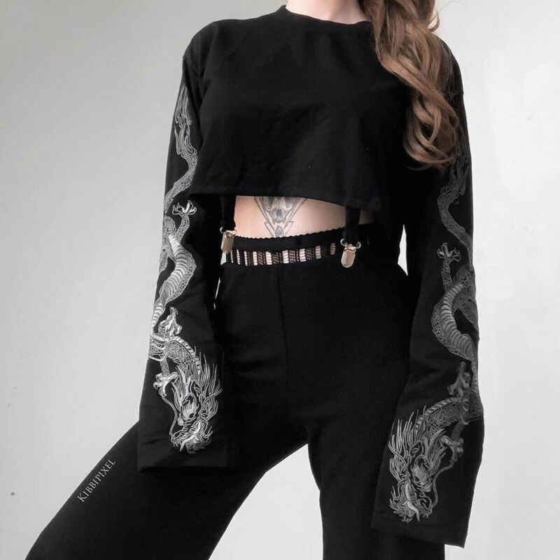 Gothic Womens Sweatshirt Draak Met Lange Mouwen O-hals Tops Fashion Dames Losse Jumper Truien Crop Tops Herfst Kleding