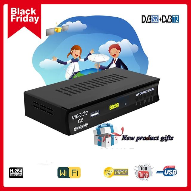 Newest DVB T2 DVB S2 Terrestrial Satellite Receiver Combo Support  Biss 1080P HD DVB T2 S2 Receptor DVB S2 Satellite receiver