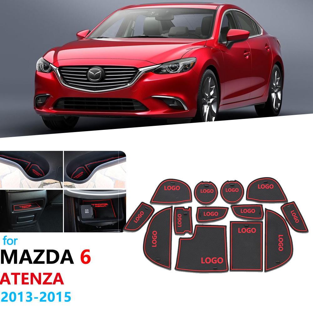 Anti-Slip Rubber Gate Slot Cup Mat For Mazda 6 2013 2014 2015 GJ Atenza Mazda6 Pre-Facelift Wagon Sedan Coaster Car Accessories