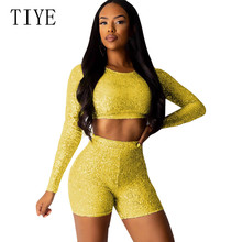 TIYE Reflective Sexy Two Pieces Long Sleeve O-neck Sequined Jumpsuits Femme Elegant Glitter Night Party Club Retro Playsuits