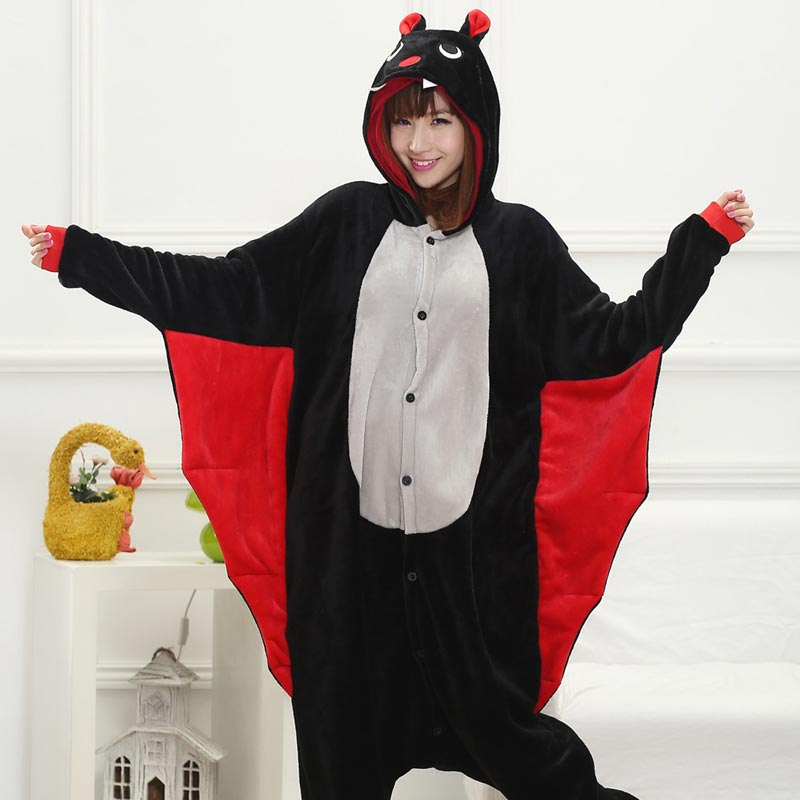 Funny Animal Onesie Bat Kigurumis Women Adult Girls Home Jumpsuit Cartoon Night Sleepwear Halloween Outfit Onepiece Party Suit