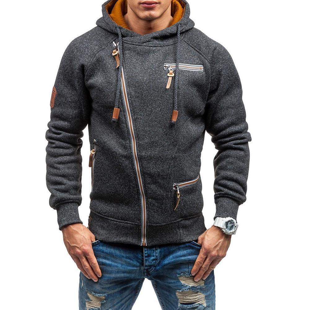 Top-Coat Hooded-Jacket Long-Sleeves Street-Style Male Thick Men's Warm Slim Faux Zipper