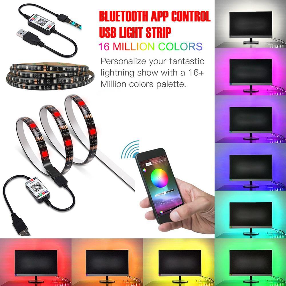 Luz de led neon para tv, 1m, 2m, 3m, 4m e 5m, usb, 5v, rgb, luz de fundo tira de luz de led para fundo de tv, hdtv, rgb, branco e quente