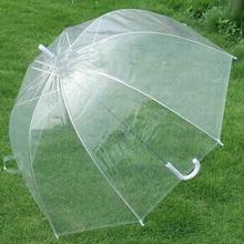 Transparent Long Handle Umbrella Plastic EVA Leaf Cage Sun Parasol Female Semi-automatic Sunshade