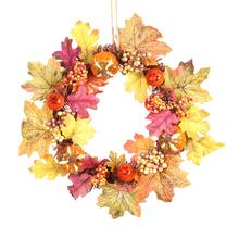 Innovative Pumpkin Pine Cone Maple Leaf Window Door Christmas Wreath Pendant Halloween Thanksgiving Decoration